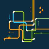 Vector color abstract design tangled pipes eps Stock Photography