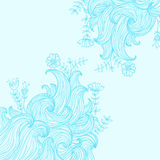 Vector color abstract hand-drawn background with waves and flowe Royalty Free Stock Photography