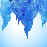 Vector color abstract hand-drawn hair pattern with waves and clo Royalty Free Stock Photography
