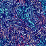 Vector color abstract hand-drawn hair pattern with waves and clo. Uds. Asian style element for design Royalty Free Stock Photography