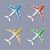 Vector Color Airplane Set Stock Photography