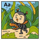 Color alphabet for children, letter A ant Stock Images