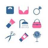 Vector color beauty icons on white background Royalty Free Stock Photography