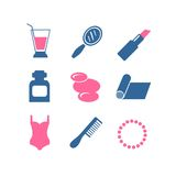 Vector color beauty icons on white background Stock Image