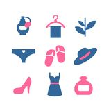 Vector color beauty icons on white background Stock Photos