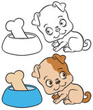 Vector color and black outline sketch of the dog sits. Cartoon illustration of dog with bowl and bone