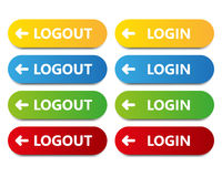 Vector color button log in log out Stock Image
