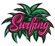 Vector color calligraphic inscription surfing with palm leaves royalty free stock image