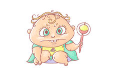Vector color cartoon illustration angry child. The chubby curly frown kid in turquoise clothes and a bib. Unhappy baby with a ratt. Le in his hand vector illustration