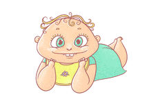 Vector color cartoon illustration joyful child. The chubby funny curly kid with big eyes. Cheerful and calm baby in turquoise clot Stock Photos