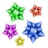 Vector color christmas ribbons. Five vector color christmas ribbons with reflection Royalty Free Stock Photos