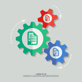 Vector color cogwheels with document icons. File format eps 10 Stock Image