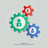 Vector color cogwheels with man icons. File format eps 10 Royalty Free Stock Photo