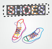 Vector color contour shoes. On a gray background Stock Photos