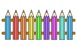 Vector Color Crayons Fence Stock Photography
