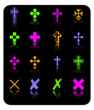 Vector color cross icon set Royalty Free Stock Photography