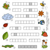 Vector color crossword for children about nature Royalty Free Stock Images