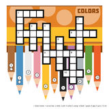 Vector color crossword with colored pencils Royalty Free Stock Photos