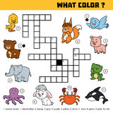 Vector color crossword about colors. What color are animals? Royalty Free Stock Photos