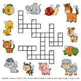 Vector color crossword about domestic animals Royalty Free Stock Photo