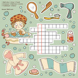 Vector color crossword, education game about bathroom Royalty Free Stock Images