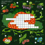 Vector color crossword, education game for children about berrie Stock Image