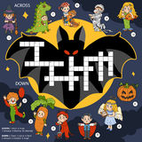 Vector color crossword, education game about Halloween Stock Image