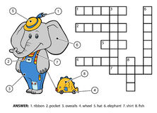 Vector color crossword. Elephant with a toy Royalty Free Stock Photo