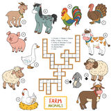 Vector color crossword about farm animals Stock Images