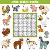 Vector color crossword about farm animals. Word search puzzle Royalty Free Stock Photo