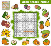 Vector color crossword about fruits. Word search puzzle Royalty Free Stock Image