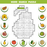 Vector color crossword about fruits. Word search puzzle Stock Photo