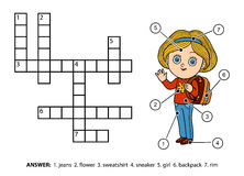 Vector color crossword. Schoolgirl character with a backpack Royalty Free Stock Photography