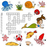 Vector color crossword about sea life Stock Photography