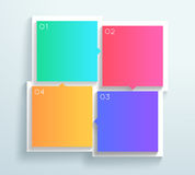 Vector Color 3d Square Text Boxes 1 to 4 Cycle Infographic B. Vector, blank white 4 square text boxes with arrows pointing to the next in the cycle on a colorful Stock Photos