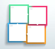 Vector Color 3d Square Text Boxes 1 to 4 Cycle Infographic A. Vector, blank white 4 square text boxes with arrows pointing to the next in the cycle on a colorful Stock Photos