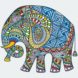 Vector color decorated Indian Elephant Stock Images