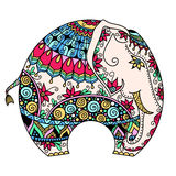 Vector color decorated Indian Elephant Stock Photos