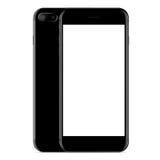 vector, color del negro de la vista delantera y lateral del teléfono de la maqueta en blanco Fotos de archivo libres de regalías