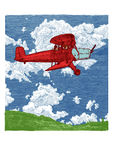 Vector color drawing of airplane stylized as engraving Stock Photos