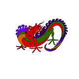 Vector color drawn picture funny dragon. Vector color drawn picture funny dragon on white background royalty free illustration