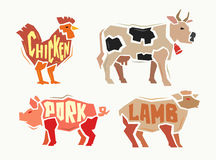 Vector color Farm animals Royalty Free Stock Images