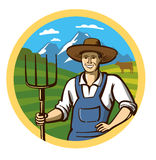 Vector color farmer. Icon on white background Stock Images