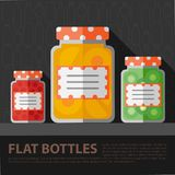 Vector color flat homemade jam bottle template Stock Images