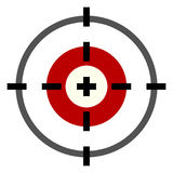 Vector Black Target Icon. Vector Color Flat Target Icon on White Background Stock Photography