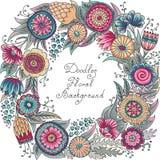 Vector color floral frame pattern Stock Image