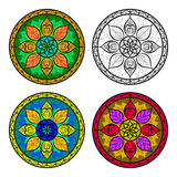 Vector Color Floral Mandala Set isolated on white Stock Photos