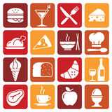 Vector Color Food Icons Collection 1. A collection of funny Icons regarding all type of foods and drinks Stock Photo
