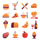 Vector Color Food Icons Collection 1. A collection of funny Icons regarding all type of foods and drinks Royalty Free Stock Image