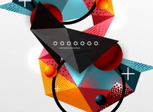 Vector color geometric abstract composition, triangular and polygonal design elements, digital background. Vector color geometric abstract composition Stock Photo